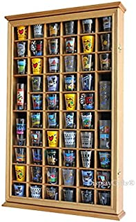 56 Shot Glass Shooter Display Case Holder Cabinet Wall Rack with DOOR (Oak Finish)