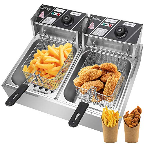 Lucakuins Countertop Deep Fryer with Dual Baskets 2500W 2x6L Stainless Steel Electric Commercial Deep Fryers for Turkey French Fries Home Kitchen Restaurant with Handles Lips Plates