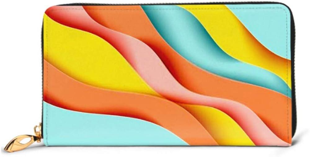 Fashion Handbag Zipper Wallet Paper Art Cartoon Abstract Waves Carve Phone Clutch Purse Evening Clutch Blocking Leather Wallet Multi Card Organizer