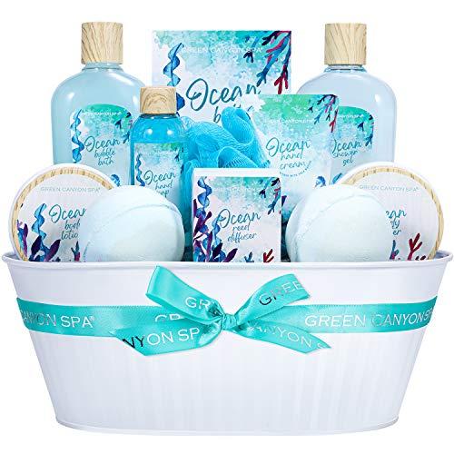 Green Canyon Spa Geschenkkorb für Frauen, 12-teilliges Ocean Bad Geschenkset, Ocean Aromatic Bad Set, Handcreme, Körperlotion, Duschgel, Frau Geschenkideen für Geburtstag und Jahrestag
