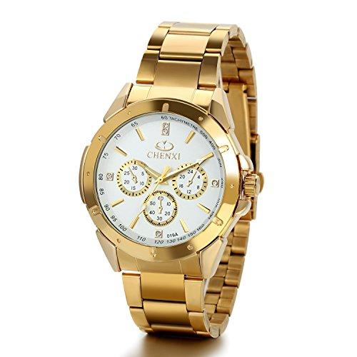 JewelryWe Orologio design New Golden Cavaliere, Business Casual Orologio elegante, 3 Occhi decorativi, Quadrante nero/oro/bianco attraente, Orologi da uomo