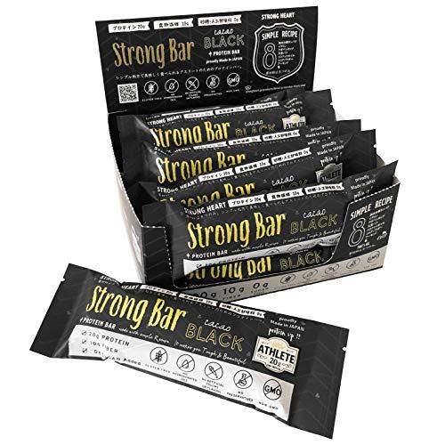 Strong Bar (ストロングバー/カカオブラック) プロテインバー プロテイン20g 砂糖不使用 食物繊維10g 原材料たったの8つ シンプル&ナチュラル処方 国産 (12本入り)