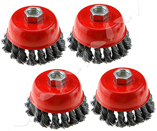 4-Inch (6 Pieces) Twist Knot Carbon Steel Wire Cup Brush rust paints corrosion remove burnishing wheel fits Dewalt Roxx Tools Makita Metabo 5/8-11 grinder polisher