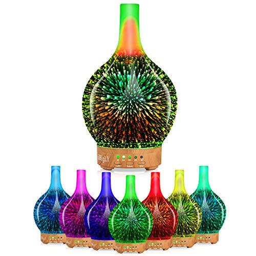 [2020] Drehbarer Aromatherapie-Diffusor für ätherische Öle mit Timer,BPA-freie Ultraschall-Aromadiffusoren,120ml Cool Mist Luftbefeuchter,7 farbige LED-Leuchten,Wasserloses Auto-Off (3D Feuerwerk)