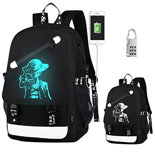 KYD Unisex-Rucksack für Jungen, Mädchen, Männer, Frauen, Outdoor-Rucksack, Reiserucksack, Tagesrucksack, Schultasche, Laptop-Tasche mit USB-Ladeanschluss, USB Seeräuber