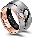 His & Hers Real Love Heart Promise Ring Titanium Stainless Steel Couples with I Love You Engraved Wedding Engagement Bands Top Ring for Girlfriend Boyfriend Gift