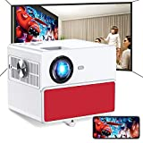 Mini WiFi Projector, TOWOND Bluetooth Portable Projector for Outdoor Movies, 7000 Lux, HD Outdoor Movie Projectors, Wireless Mirroring, for iPhone/Android/Laptops/PCs/Windows Red