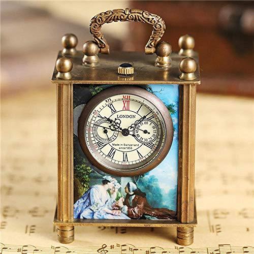 LEYUANA Einzigartige Malerei Mechanische Uhr, Halterung Uhr Vintage Antike Kunst Ölgemälde Quadrat Retro Bronze Home Decoration Uhr Uhr Bronze