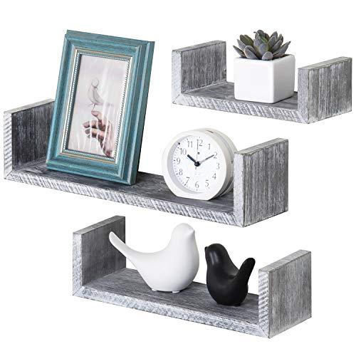 MyGift Wall-Mounted Barnwood Graywashed U-Shaped Floating Shelves for Office, Kitchen and Living Room, Set of 3