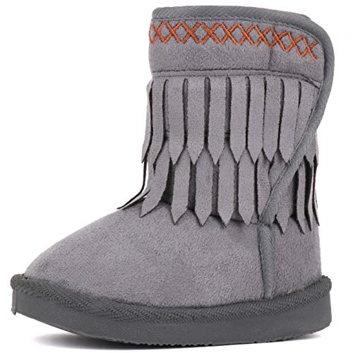 Femizee Toddler Girls Fringe Tassels Boots Faux-Fur Lined Moccasin Winter Snow Boots,Grey,1962 CN27