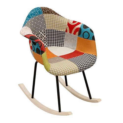 Fauteuil Chambre /à coucher Tabouret De Maquillage Cadre en bois Tabouret de bar Conception du dos et des pieds Chaise de cuisine Patchwork Multicolore Ensemble de chaise de salle /à manger,Blue