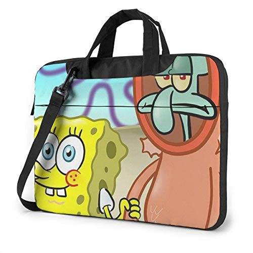 Lsjuee 13 Inch Laptop Bag Squidward Tentacles with Spongebob Laptop Briefcase Shoulder Messenger Bag Case Sleeve