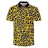 Yowablo Polo Homme T-Shirt à Manches Courtes de la Nouvelle série de Texture Animale de de Tendance d'été (3XL,7Jaune)