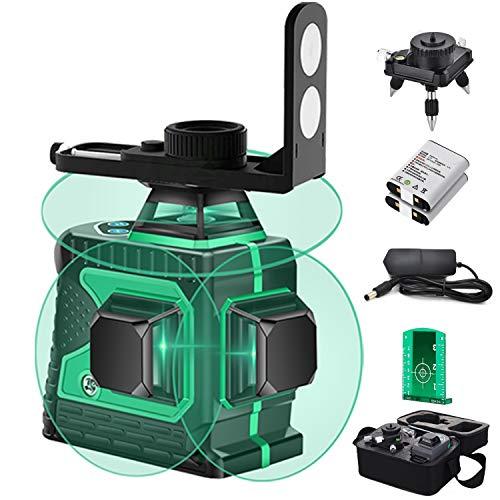 Nivel láser 3D autonivelante de haz verde 3D, línea cruzada 12 líneas Nivel láser - Tres planos Dos líneas verticales de 360 ° y una horizontal de 360 °