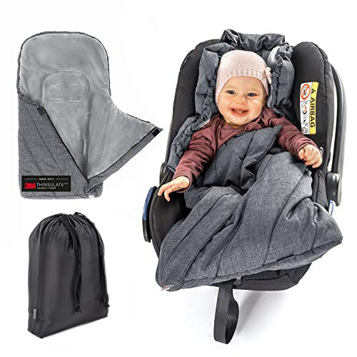 Zamboo Fußsack 3M für Babyschale - Baby Winterfußsack mit Thinsulate Füllung, warme Mumien Kapuze, Tasche - Grau (Basic)
