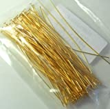 144 Head Pins .029dia X 3 Inch Gold Plating Over Brass Standard 21 Gauge Wire Beadsmith Headpins