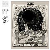 K/B Tapiz de Pared Tarot/Astrología Tapices Grande, Decorativos de Habitación Mística Psicodélica con Herramienta de Instalación Gratuita (Luna)