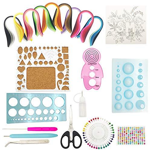 ENGESTON Papier Quilling Kit, 12 Papier Quilling Werkzeuge, 900 Streifen 40 Farben 5x390mm Papier Quilling Streifen für Quilling DIY Handwerk, Papier Kunsthandwerk, Papier Blumenherstellung