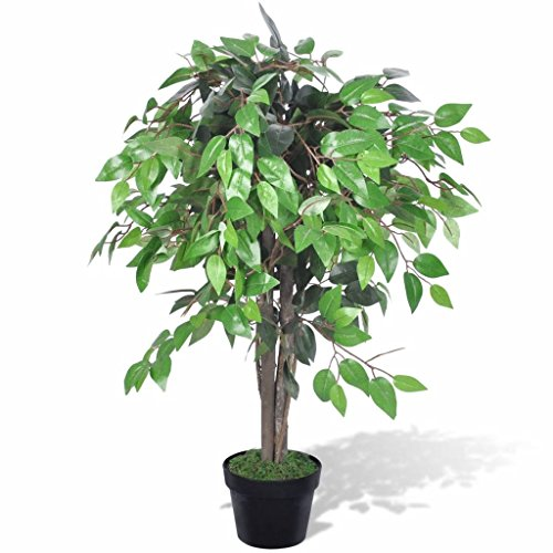 vidaXL Albero Ficus Artificiale con Vaso 90 cm Pianta Finta Fiore Casa Ufficio