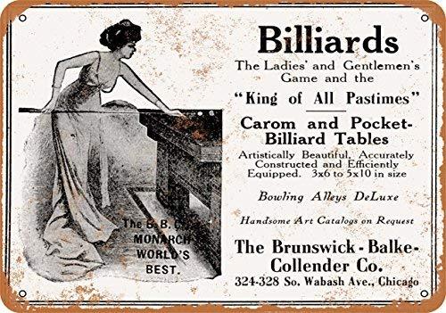 Laptopo 1912 Brunswick Carom and Pocket Billiards - Vintage Look 7 x 10 Metal Sign