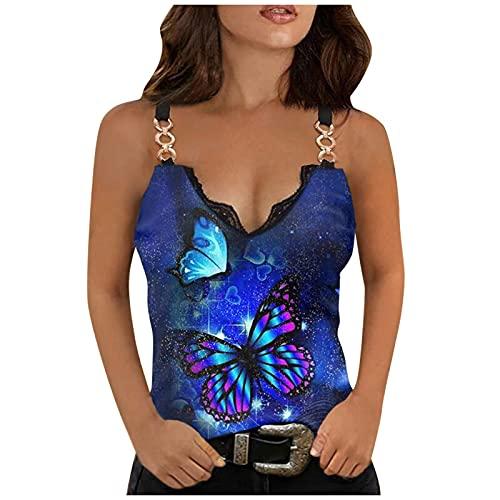 Camiseta de verano para mujer, sexy, sin mangas, con estampado de rosa, cómoda, única y delgada, con cadena, Classic, L, A01#Blue