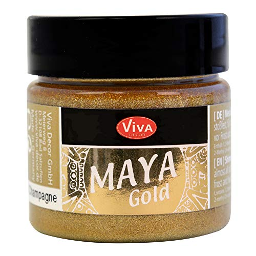 Viva Decor® Maya Gold (Champagner, 45 ml) glänzende Metallic Farben zum Basteln - Acrylfarben Gold Metallic für Holz, Pappe, Beton, Papier, Leinwand uvm. - Made in Germany