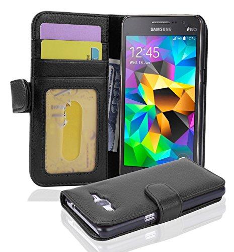 Cadorabo Hülle für Samsung Galaxy Grand Prime - Hülle in Oxid SCHWARZ – Handyhülle mit 3 Kartenfächern - Hülle Cover Schutzhülle Etui Tasche Book Klapp Style