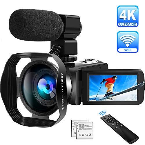 4K Camcorder Videokamera Ultra HD WiFi Camcorder mit Mikrofon Digital Camcorder 48.0MP IR Nachtsicht Vlogging Kamera 18X Digital Zoom 3.0 Zoll Touchscreen mit Gegenlichtblende