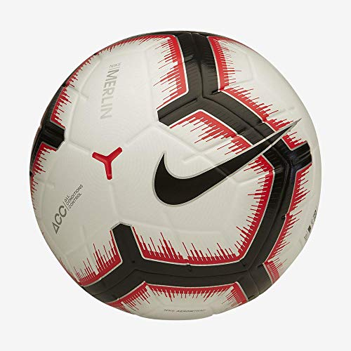 Nike NK Merlin, Pallone da Calcio Unisex Adulto, White/Bright Crimson/Black/bla, 5