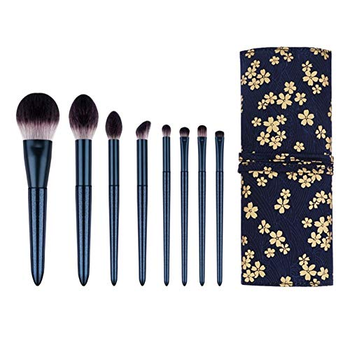 CCwenjing 8 piezas de pinceles de maquillaje Serie Dark Green Series Blush Brush Foundation Brush Beauty Makeup Tools with Bag