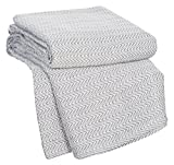 Lavish Home Chevron 100Percent Egyptian Cotton Blanket - Full/Queen - Char