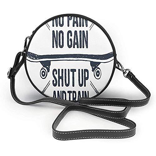 TURFED PU Runde Umhängetasche Fitness handgezeichneten 90er Jahre Motto Symbol mit Skateboard ethnischen Boho-Stil Pfeile Satz Handtasche