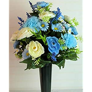 Spring Cemetery Arrangement, Cemetery Flowers with Blue Carnations, Cemetery Vase Flowers