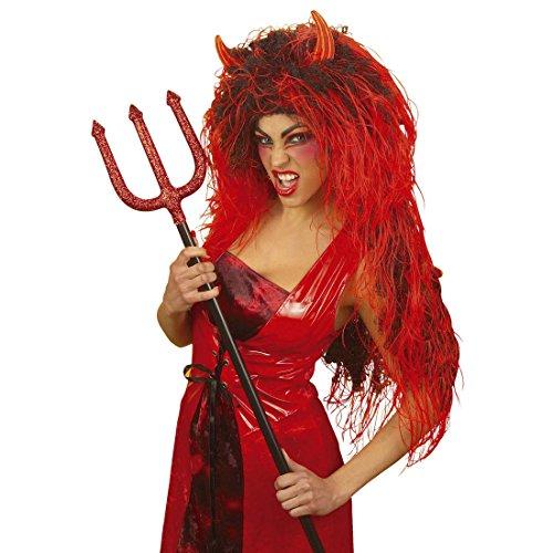 NET TOYS Extra Lange Teufelin Perücke Langhaarperücke Damen rot-schwarz Teufelperücke mit Teufelshörner Damenperücke Teufel Teufelsperücke Hölle Halloweenperücke Kostüm Zubehör