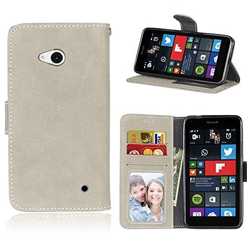 pinlu Hohe Qualität Retro Scrub PU Leder Etui Schutzhülle Für Microsoft Lumia 640 Dual-SIM Lederhülle Flip Cover Brieftasche Mit Stand Function Innenschlitzen Design Grau