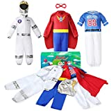 Boys Dress up Trunk Costumes Set, Jeowoqao Kids Dress up Clothes Set Boys Role Play Costume, Superman, Astronaut, Footballer Costume for Children Ages 3-6