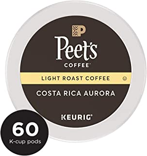 Peet's Coffee Costa Rica Aurora, Light Roast, 60 Count Single Serve K-Cup Coffee Pods for Keurig Coffee Maker