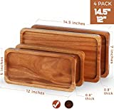 FANICHI Serving Tray and Platter Set of 4 (14' & 12') Solid Natural Wood for Food Holder/BBQ/Party Buffet, Avoid Sliding Spilling Food with Easy Carry Grooved Handle Design