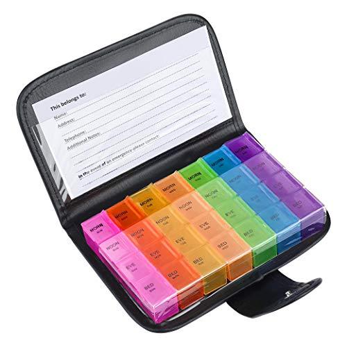 Caja de Pastillas 7 días 28 Compartimentos Pastillero Organizador Semanal Multicolor Dispensador de Medicamentos con Estuche de Cuero para Vitaminas Diarias Suplementos y Medicación