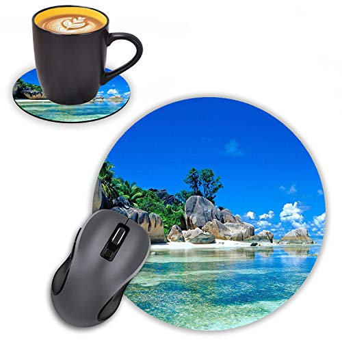 Log Zog Round Mouse Pad with Coasters Set, Beaches France Seychelles Design Mousepad Non-Slip Rubber Gaming Mouse Pad for Computers Laptop
