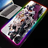 Large Mouse Pad Anime Demon Slayer Kimetsu No Yaiba RGB Gaming Mouse Pad LED Lighting USB Port Durable Stitch Edges Keyboard Laptop Mice Pad for Gamer Gaming (900×400×3mm)