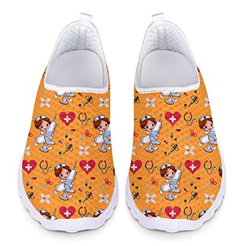 Showudesigns Deportiva Enfermero Trabajo para Mujer Sanitarios Zapatos Deportivos Enfermera Zapatillas Transpirables Malla Ligera Talla 39 Mujeres Casual Running Sneakers