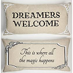 Cyber Monday Gifts - Evelyn Hope Collection Dreamers Welcome Linen Message Throw Pillow on Amazon