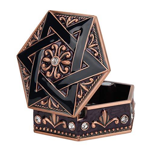 Aleación Caja de almacenamiento de joyería hexagonal Pendientes con incrustaciones de diamantes de imitación Caja de almacenamiento Decoración del hogar Compartimentos ajustables para regalo para coll