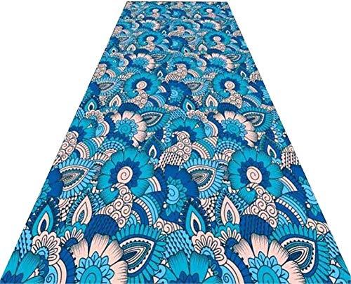 YUEDAI Resbalón no Runner Alfombra for Pasillo Superficie Tamaño Alfombras Decoración Pasillo Largo Moqueta Cocina Puerta de Entrada Alfombras Azul de Encargo (Color : A, Size : 1x5m)