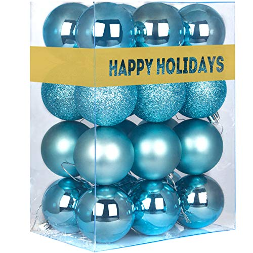 GameXcel 24Pcs Christmas Balls Ornaments for Xmas Tree - Shatterproof Christmas Tree Decorations Large Hanging Ball Sky Blue 2.5' x 24 Pack