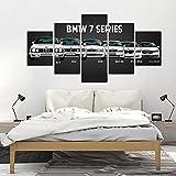 Impresión en HD sobre lienzo pintura de arte de pared póster modular 5 piezas sin marco para la decoración del hogar sala de estar Bmw M3 M5 coches deportivos blancos-200X100cm