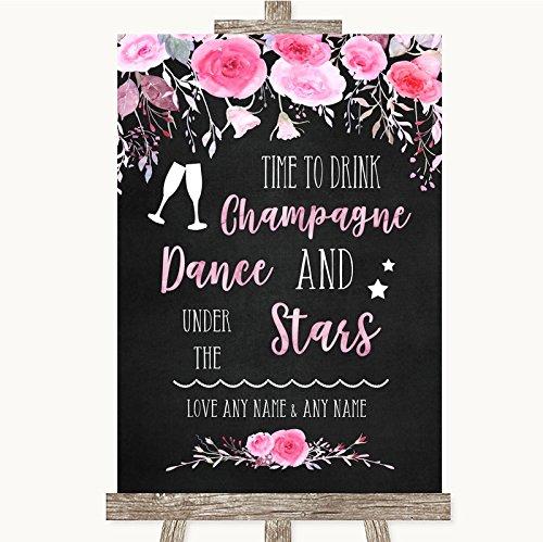 Bruiloft bord Poster Print Krijt Stijl Aquarel Roze Bloemendrank Champagne Dans Sterren Kan Volledig Aangepast Elke Wording Of Kleur - Perfect Venue Decoratie (A4) Medium