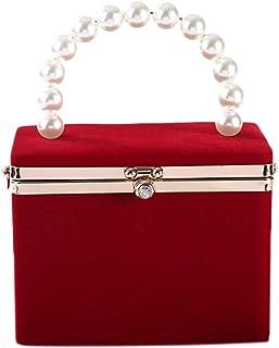 Generic Evening Clutch Bag for Women Artificial Pearl Box Crossbody Shoulder Handbag Wedding Party Prom Clutch Purse Red