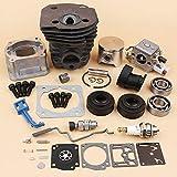 Tiempo Beixi Pan Cilindro carburador cojinete del Sello de Aceite del Acelerador Choke Varilla Kit 44mm Compatible con Husqvarna 340 350 345 Motosierra Motor de Repuesto y Recambio